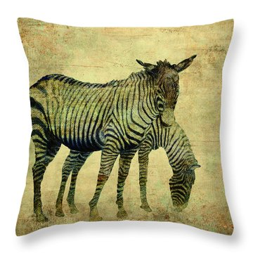 Grazing Zebras Throw Pillow