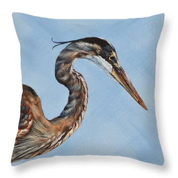 Great Blue Iv Throw Pillow