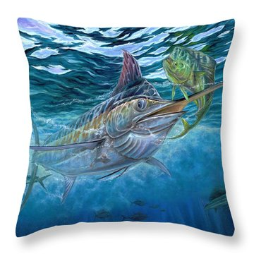 Great Blue And Mahi Mahi Underwater Throw Pillow