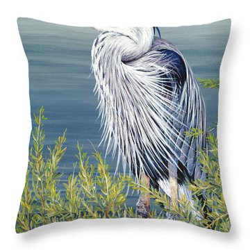 Great Blue Throw Pillow by Danielle  Perry