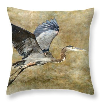 Great Blue Heron 2 Throw Pillow by Angie Vogel