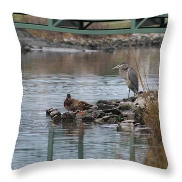 Throw Pillow featuring the photograph Great Blue Heron And Friends by Robert Banach