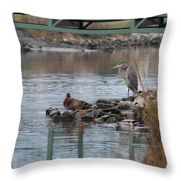 Great Blue Heron And Friends Throw Pillow by Robert Banach