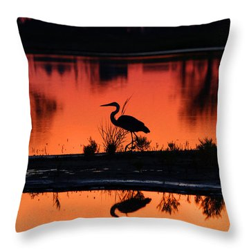 Great Blue Heron At Sunrise Throw Pillow