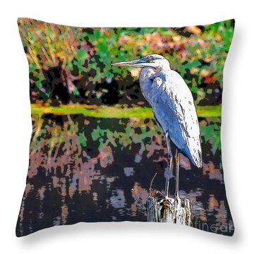 Great Blue Heron At The Pond Throw Pillow