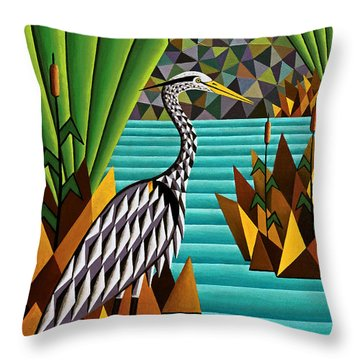 Great Blue Heron Throw Pillow by Bruce Bodden