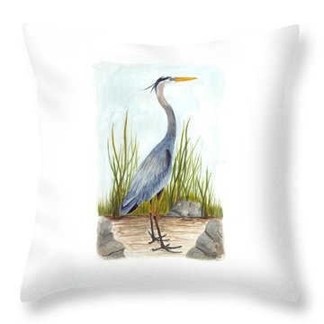 Great Blue Heron Throw Pillow by Cindy Hitchcock