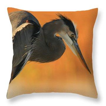 Great Blue Heron Focus Throw Pillow