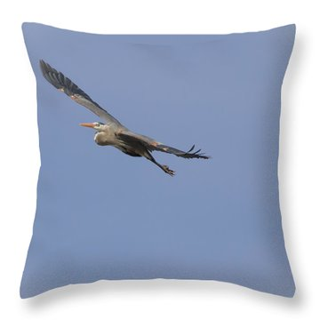 Great Blue Heron In Flight-2 Throw Pillow