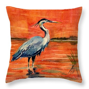 Great Blue Heron In Marsh Throw Pillow