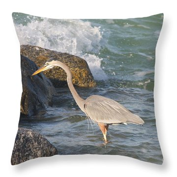 Throw Pillow featuring the photograph Great Blue Heron On The Prey by Christiane Schulze Art And Photography