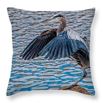 Great Blue Heron Pose Throw Pillow