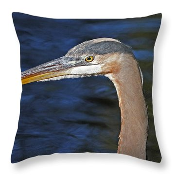 Great Blue Heron Profile Throw Pillow