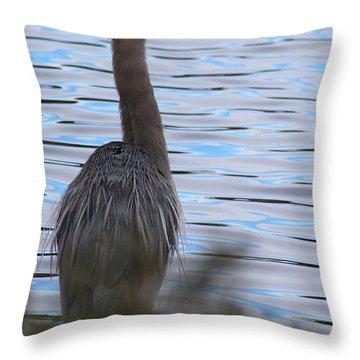 Great Blue Heron Setauket New York Throw Pillow