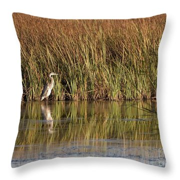 Great Blue Heron Throw Pillow by Steven Ralser