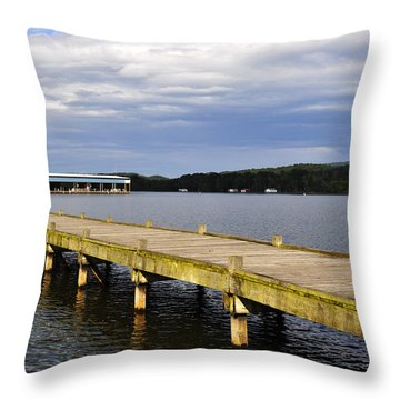 Great Blue Heron Sunning On The Dock Throw Pillow