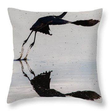 Great Blue Heron Takeoff Throw Pillow