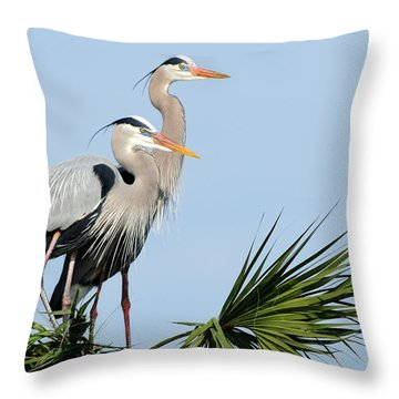 Great Blue Herons At Nest Throw Pillow