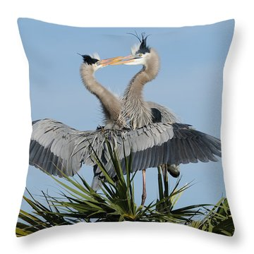 Great Blue Herons Courting Throw Pillow
