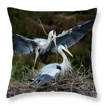 Great Blue Herons Nesting Throw Pillow