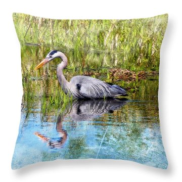 Great Blue Hunter Throw Pillow by Barbara Chichester