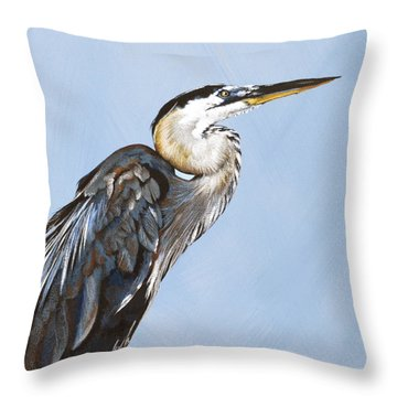 Great Blue I Throw Pillow