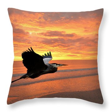 Great Blue In Flight 5 Throw Pillow by Marty Koch