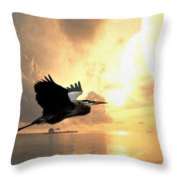 Great Blue In Flight 7 Throw Pillow by Marty Koch