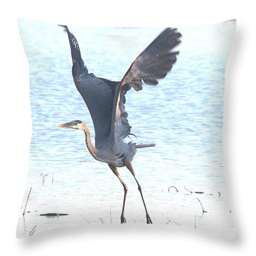 Great Blue Lift Off Series 1 Throw Pillow by Roy Williams