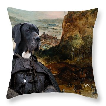 Great Dane Art - The Boar Hunt Throw Pillow