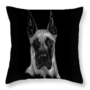 Throw Pillow featuring the drawing Great Dane by Rachel Hames