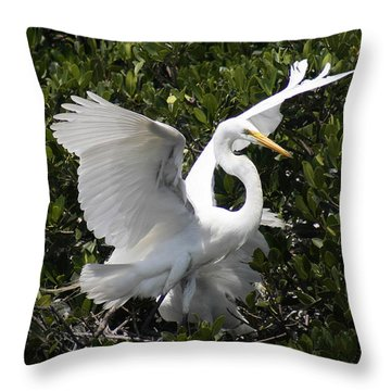 Great Egret 03 Throw Pillow