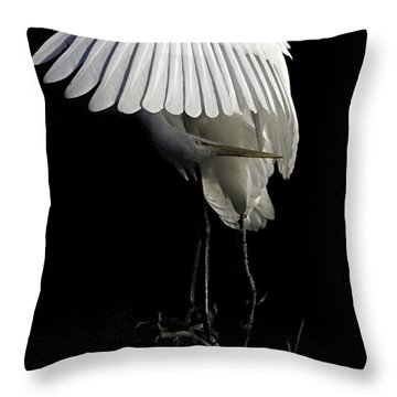 Great Egret Bowing Throw Pillow