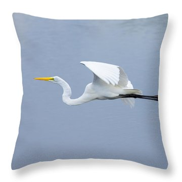 Throw Pillow featuring the photograph Great Egret In Flight by John M Bailey