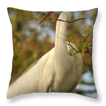Great Egret Impressions Throw Pillow