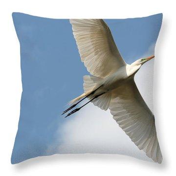 Great Egret Overhead Throw Pillow by Carol Groenen