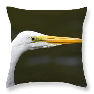 Great Egret Profile Throw Pillow