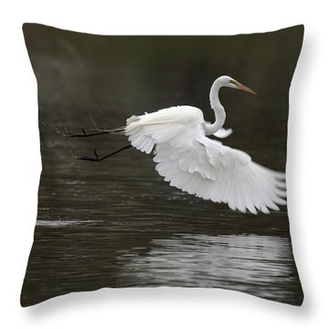 Great Egret Takeoff Throw Pillow by Gary Langley