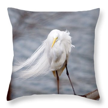 Great Egret Windy Portrait Throw Pillow