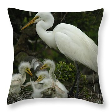 Great Egret With Young Throw Pillow by Bob Christopher
