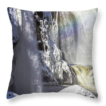 Great Falls And A Rainbow Throw Pillow