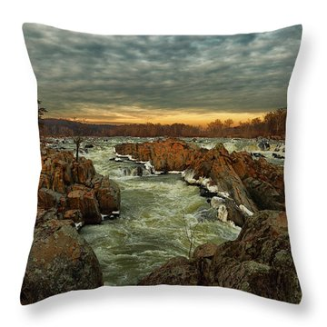 Great Falls Virginia Winter 2014 Throw Pillow