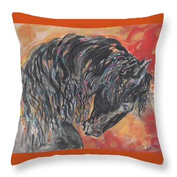 Throw Pillow featuring the painting Great Fresian by Mary Armstrong