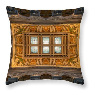 Great Hall Ceiling Library Of Congress Throw Pillow