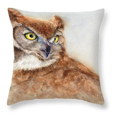 Throw Pillow featuring the painting Great Horned Owl by Bonnie Rinier