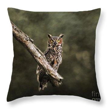 Great Horned Owl I Throw Pillow by Jai Johnson