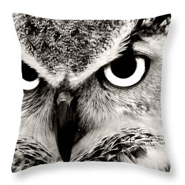 Great Horned Owl In Black And White Throw Pillow
