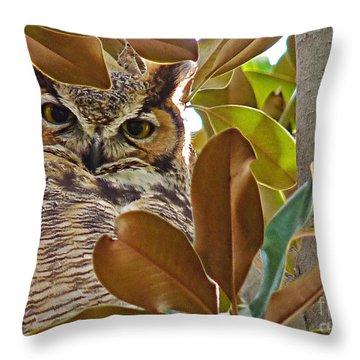 Throw Pillow featuring the photograph Great Horned Owl by Meghan at FireBonnet Art