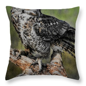Great Horned Owl On Branch Throw Pillow by Deborah Benoit
