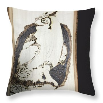 Throw Pillow featuring the digital art Great Horned Owl by Terry Frederick